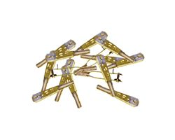 SUL-527 Clevis steel 2-56 gold (2) +clips (12)