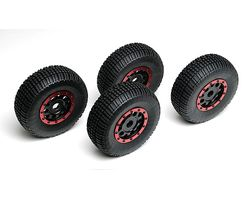 ASS89421 Kmc wheels, black/ red beadguards (4)