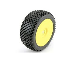 LOSA17760S 1/8 Step Pin Buggy Tyres Silver  Glued/Yellow whee