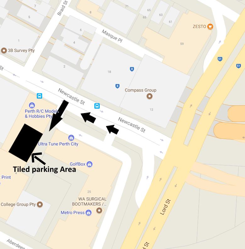 Shop parking location Perth RC Hobby shop
