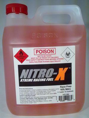 695996004356 Nitro-x race prep 16% nitro 5 cast 10 syn 4 litre
